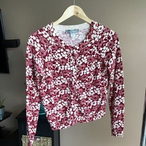 MaxMara Red and Cream Floral Button Cardigan